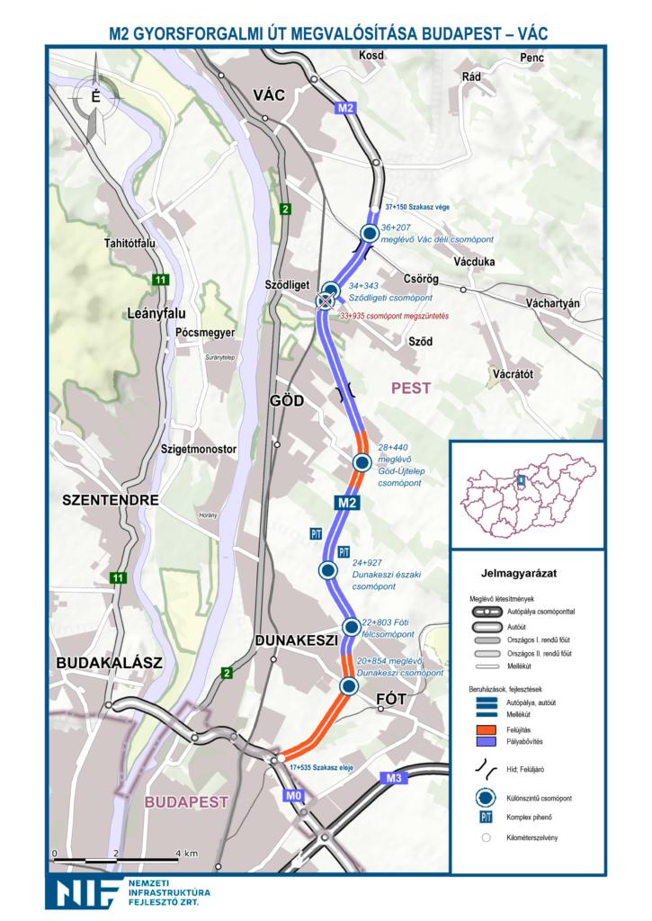 Tavasszal megkezdődik az M2 Budapest-Vác déli csomópont közötti szakaszának bővítése