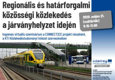 Regionális és határforgalmi közösségi közlekedés a járványhelyzet idején - ingyenes virtuális szeminárium a CONNECT2CE projekt részeként
