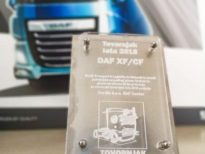 """Az új DAF CF és XF nyerte el a """"2018. év szlovén tehergépkocsija"""" címet"""